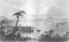 Scotland DUNDEE PORT FIRTH OF TAY PIER SAILBOATS SHIP ~ 1840 Art Print Engraving