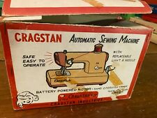 Vintage 1960s Japan Battery Operated Cragstan Pink & White Sewing Machine w/box