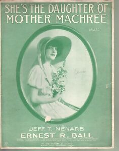 She's The Daughter of Mother Machree 1915 Large Format Sheet Music