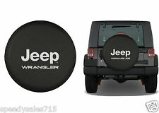 "Black Jeep Wrangler Logo Spare Tire Cover Wheel R17 31""-32.6"" New Free Shipping"