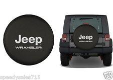 "Black Jeep Wrangler Logo Spare Tire Cover Wheel R17 31""-32.6"" New Free Shipping"