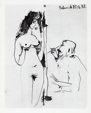 Amazing PABLO PICASSO 1954 Antique Human Comedie Print STANDING NUDE Framed COA