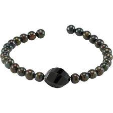 Black Agate and Black Pearl Cuff Bracelet