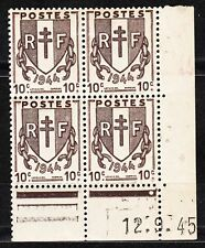 FRANCE COIN DATE BLOC DE 4 TIMBRE NEUF N° 670  TYPE CHAINE BRISEES
