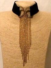 Declaración de mujer de oro negro largo Collar Cadena Gargantilla Pechera Cuello con borlas de boda