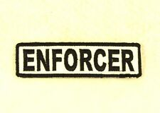 Enforcer Negro sobre Blanco Pequeño Parche Insignia Para Motero Chaleco SB685