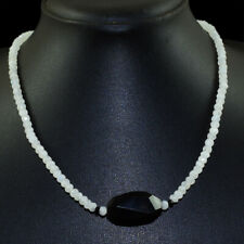 45.00 Cts Natural Blue Flash Moonstone & Black Spinel Beads Necklace NK 65E98