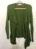 Sparrow Green Women's Size L Long Sleeve Open 1-Button Waterfall Cardigan
