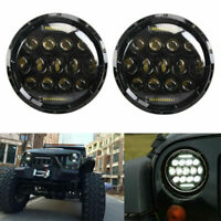 """Pair 7"""" inch 75W LED Headlight H4 H13 DRL High Low Beam For Jeep JK Wrangler TJ"""