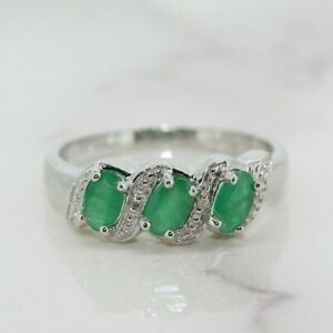 Sterling Silver 925 Emerald and Diamond Three Stone Cluster Ring (Size L 1/2, M)