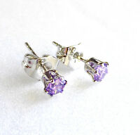 Women Men 4mm White Gold Plated Lilac Simulated Diamond Small Stud Earrings UK