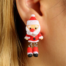 Christmas Santa Claus Earrings Handmade Polymer Clay Ear Stud Earrings Jewelry