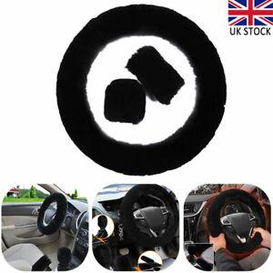 3Pcs fluffy Black Wool Accessory Car Furry Steering Wheel Soft Plush Cover UK