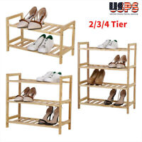 2/3/4 Tier Wood Bamboo Shelf Entryway Storage Shoe Rack Organizer Home Furniture