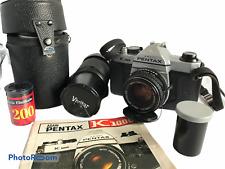 Lot of 1 Pentex Camera 2 Vivitar Lenses 2 Rolls 35mm Film Carry Bag Untested