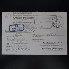 LETTRE PRISONNIER DE GUERRE CHAMALIERES -> STALAG IV F KRIEGSGEFANGENENPOST POW