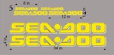 "Sea-Doo 3D Logo / Yellow/White 34"" Vinyl Vehicle Personal Watercraft Decal Pk"