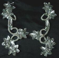 LR22 Mirror Pair Star Floral Sequin Bead Applique Silver Belly Dance/Dancewear