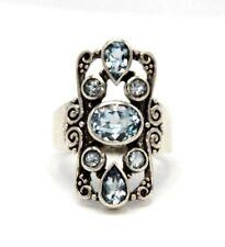 Ring  Blau Topas,  Blau Topase  925 Sterling  Silber   ANTIK STYLE   Ø 17,2 mm