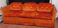 Vtg Mid Century Knoll Style Sofa Couch Sunset Orange Acorn Finials P/U Dallas
