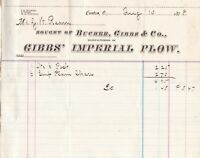 U.S. 1878 Canton Gibbs Imperial Plow Manuf By Bucher Gibbs & Co Invoice Rf 37503