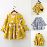 Toddler Baby Girls Princess Dress Kids Long Sleeve Bowknot Party Dresses Clothes
