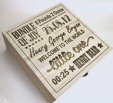 Extra Large Personalised Wooden Baby Keepsake Box.Word Art Memory Box.Unisex Box