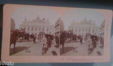STC406 Paris Grand opéra animé rue vélo 1896 STEREO Photography Stereoview
