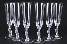 Fabergé 6 Flûtes à Champagne En Cristal Aux Colombes 25cm signé COLOMBE DE NEIGE