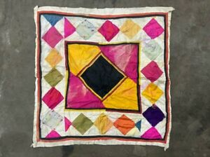 OLD INDIAN TRADITIONAL TAPESTRY HAND PATCH WORK SATIN CLOTH, WALL HOME DECOR