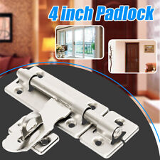 4'' Stainless Steel Home Security Door Lock Barrel Bolt Latch Padlock Clasp Set