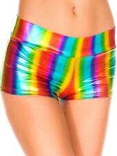 Music Legs Roller Derby Pole Dance Rainbow Metallic Booty Shorts Hot Pants