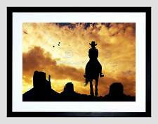 PHOTO COMPOSITION COWGIRL SILHOUETTE MONUMENT VALLEY FRAMED ART PRINT B12X8321