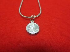 "14Kt White Gold Plated 9 1/2"" 1.6Mm Snake Anklet W/Mini Lucky Penny- Usa Seller"
