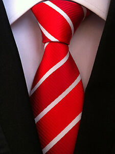 (NT090) Red With White Stripe Necktie Office Wedding Business Party Tie For Men