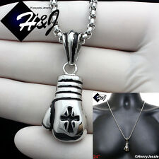 "24""Stainless Steel 3mm Silver Box Chain Necklace Boxing Glove Cross Pendant*P75"