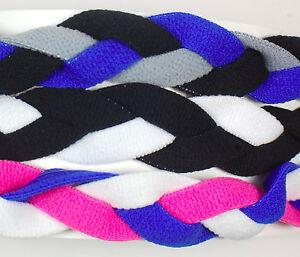 3 PACK MINI BRAIDED HEADBANDS HAIR BAND Royal Black Gray White Pink Neon Hot