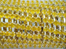 Acrylic 4mm Rhinestone Chain 1m Yellow/Silver Costume Sew Dance FREE POSTAGE