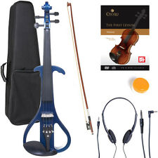 NEW 4/4 Ebony Electric Violin w/Pickup -Blue & Style-4