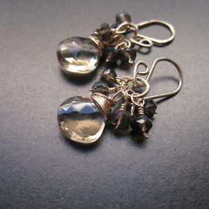 Champagne Topaz, Smoky Quartz Wire Wrapped Gemstone Earrings