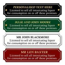 Custom Licence to sell alcohol sign, Metal Licensee sign, Home Bar Landlord Sign