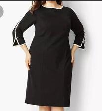 Nwt Talbots 22W Black And Cream Bow Sleeve Refined Ponte Knit Dress