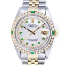 Rolex Mens Datejust Watch 36mm 18KY & SS  White MOP Diamond String Emerald Dial