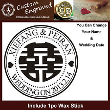 Custom Made Name & Date Double Happiness Chinese Wedding Wax Seal Stamp+1 Wax