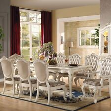 Acme Furniture 63540 Chantelle Dining Table, Marble & Pearl White NEW