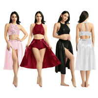 Womens Ballet Dance Outfit Sequined Top&Skirt Lyrical Dancewear Dress Costume