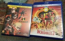 The Incredibles (bluray, Dvd, Digital) + Incredibles 2 (bluray,Dvd) Lot Used