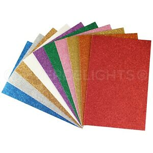 "Glitter Foam Sheets - 8"" x 12"" - Large Self Adhesive Craft Pads - 10 50 100 Pcs"