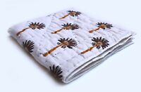Indian Multi Palm Tree Hand Block Print Baby Quilt Cotton Filled Cotton Coverlet
