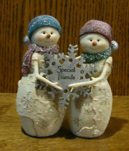 Birch Hearts Snowmen Figurine  #81044 SPECIAL FRIENDS,  by BARB McDONALD 4.5""